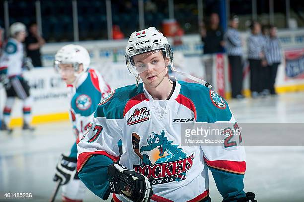 Josh Morrissey of Kelowna Rockets warms up for his first game as a Kelowna Rocket against the Medicine Hat Tigers on January 10 2015 at Prospera...