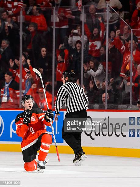 Josh Morrissey of Team Canada celebrates his goal in a preliminary round game at the 2015 IIHF World Junior Hockey Championships against Team United...