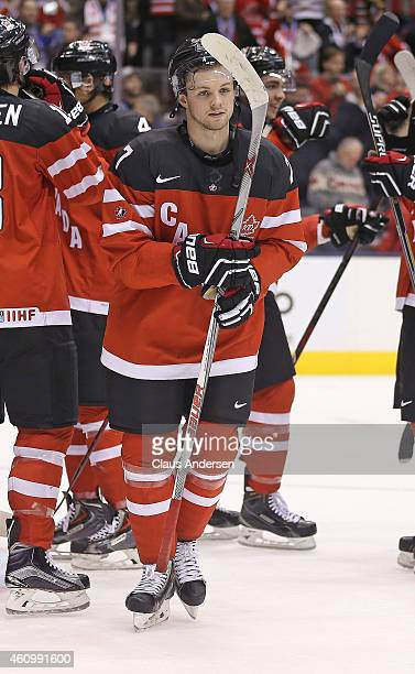 Josh Morrissey of Team canada looks to retreive the puck after playing Team Denmark during a quarterfinal game in the 2015 IIHF World Junior Hockey...