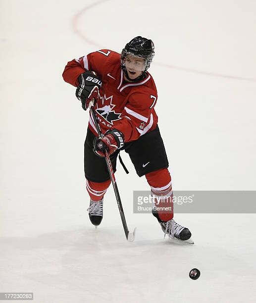 Josh Morrissey of Team Canada skates against Team Finland during the 2013 USA Hockey Junior Evaluation Camp at the Lake Placid Olympic Center on...