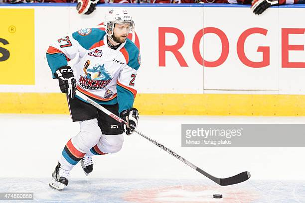 Josh Morrissey of the Kelowna Rockets moves the puck in Game One during the 2015 Memorial Cup against the Quebec Remparts at the Pepsi Coliseum on...