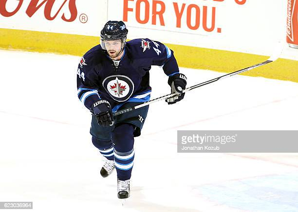 Josh Morrissey of the Winnipeg Jets follows the play up the ice during first period action against the Los Angeles Kings at the MTS Centre on...