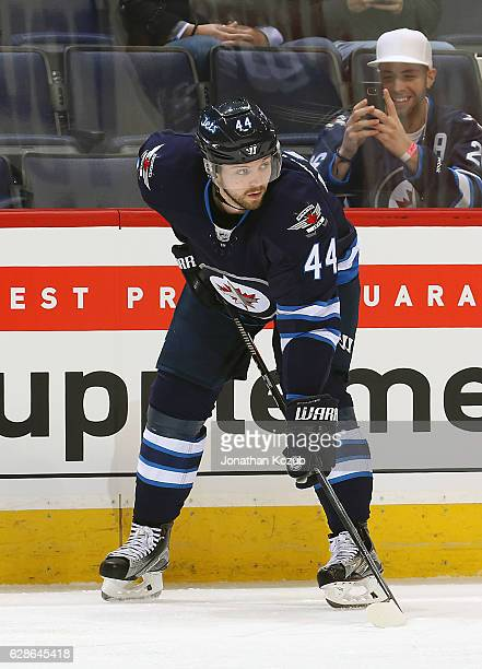 Josh Morrissey of the Winnipeg Jets gets set for a second period faceoff against the New York Rangers at the MTS Centre on December 8 2016 in...
