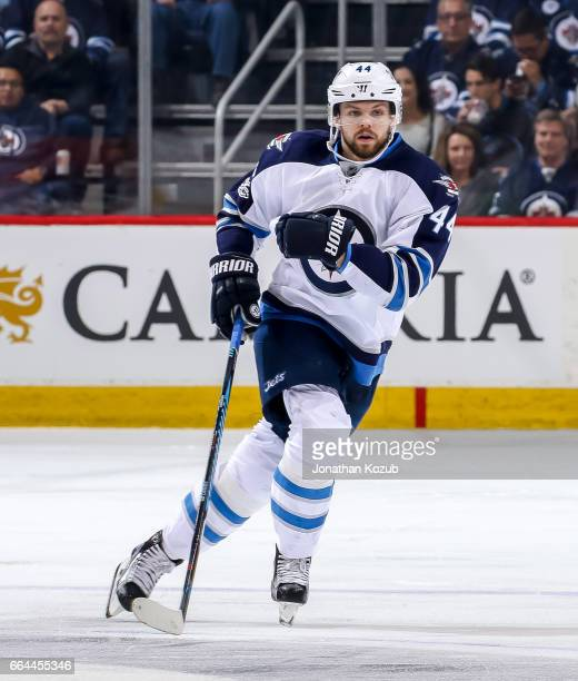 Josh Morrissey of the Winnipeg Jets keeps an eye on the play during second period action against the Anaheim Ducks at the MTS Centre on March 30 2017...