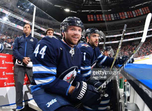 Josh Morrissey of the Winnipeg Jets watches from the bench during the preseason game against the Edmonton Oilers on September 23 2017 at Rogers Place...