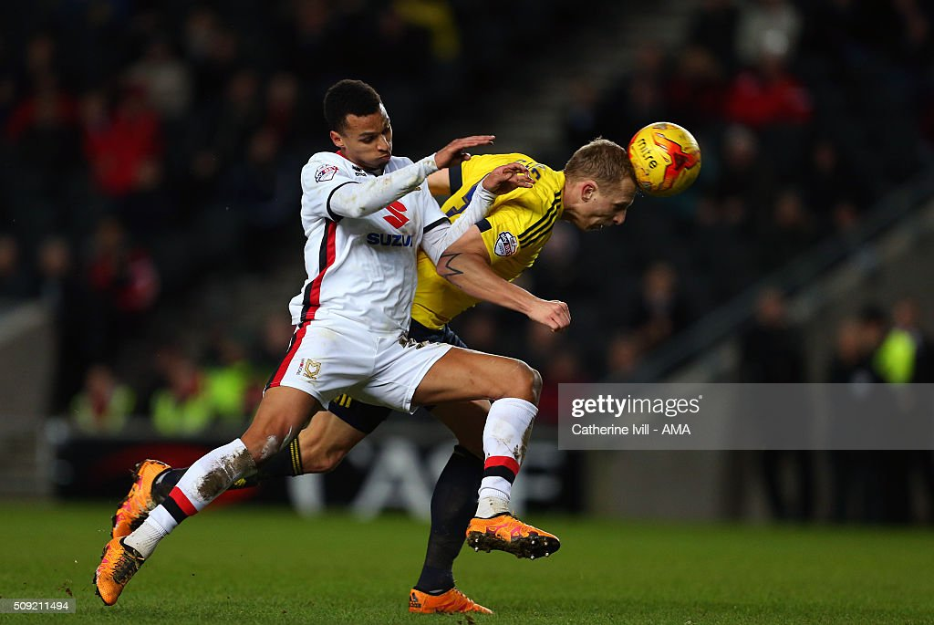 Josh Murphy of MK Dons and Ritchie De Laet of Middlesbrough during the Sky Bet Championship match between MK Dons and Middlesbrough at Stadium mk on February 9, 2016 in Milton Keynes, England.