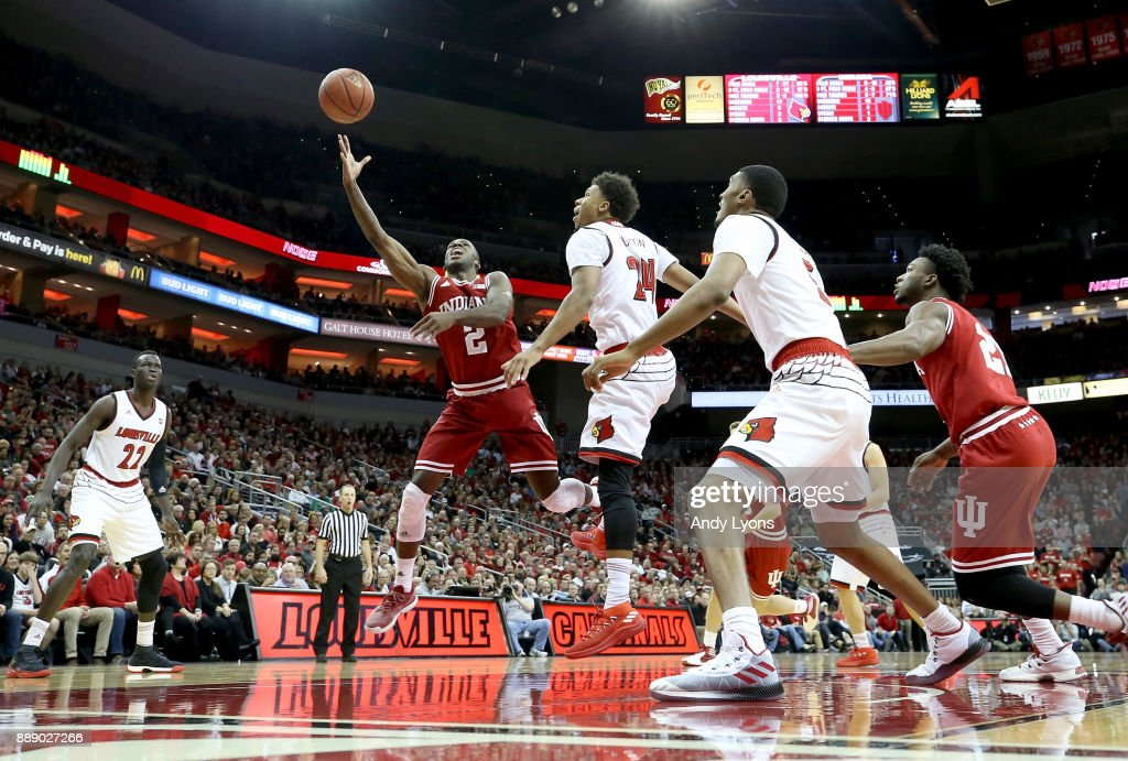 Josh Newkirk #2 of the Indiana Hoosiers shoots the ball against the Louisville Cardinals at KFC YUM! Center on December 9, 2017 in Louisville, Kentucky.