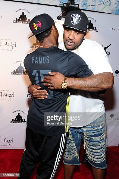Josh Norman and CC Sabathia attend 2016 Roc Nation Summer Classic Charity Basketball Tournament at Barclays Center of Brooklyn on July 21 2016 in the...