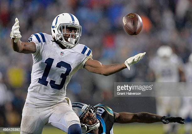 Josh Norman of the Carolina Panthers breaks up a pass intended for TY Hilton of the Indianapolis Colts during their game at Bank of America Stadium...