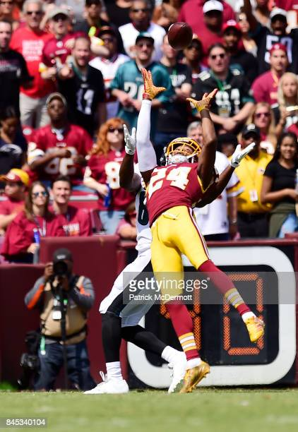 Josh Norman of the Washington Redskins fights for a cactch against the Philadelphia Eagles in the second quarter at FedExField on September 10 2017...