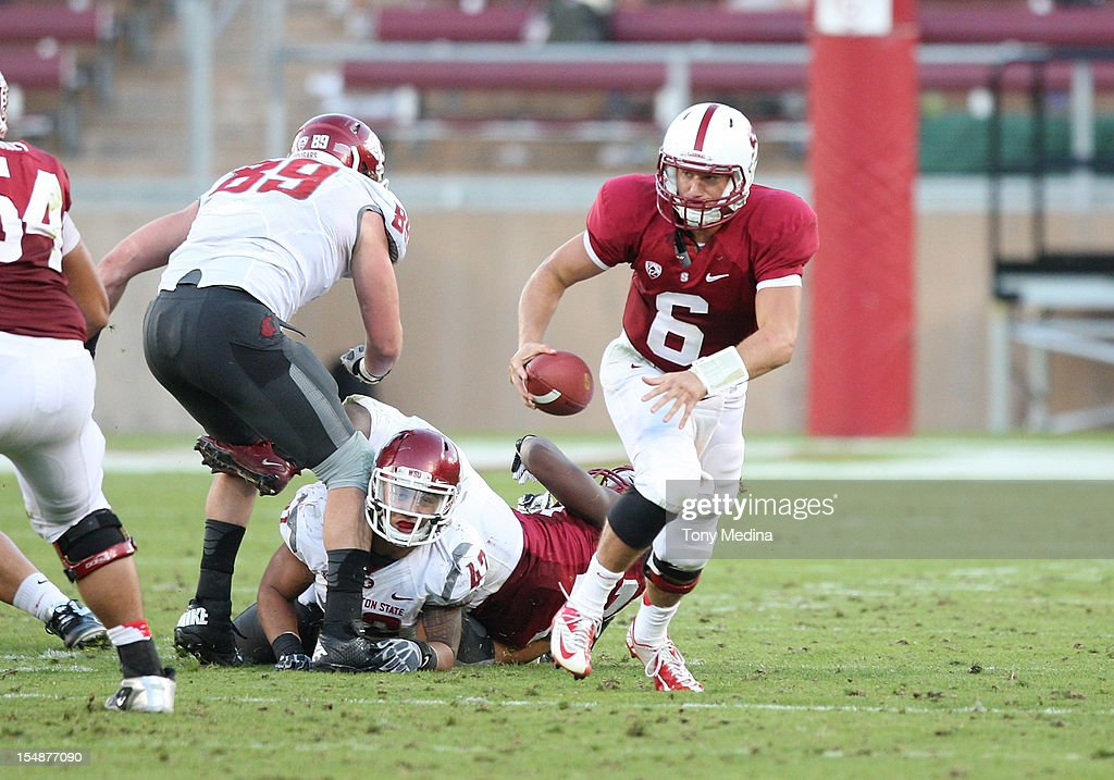 Josh Nunes #6 of the Stanford Cardinal avoids pressure from the Washington State Cougars defense at Stanford Stadium on October 27, 2012 in Palo Alto, California.