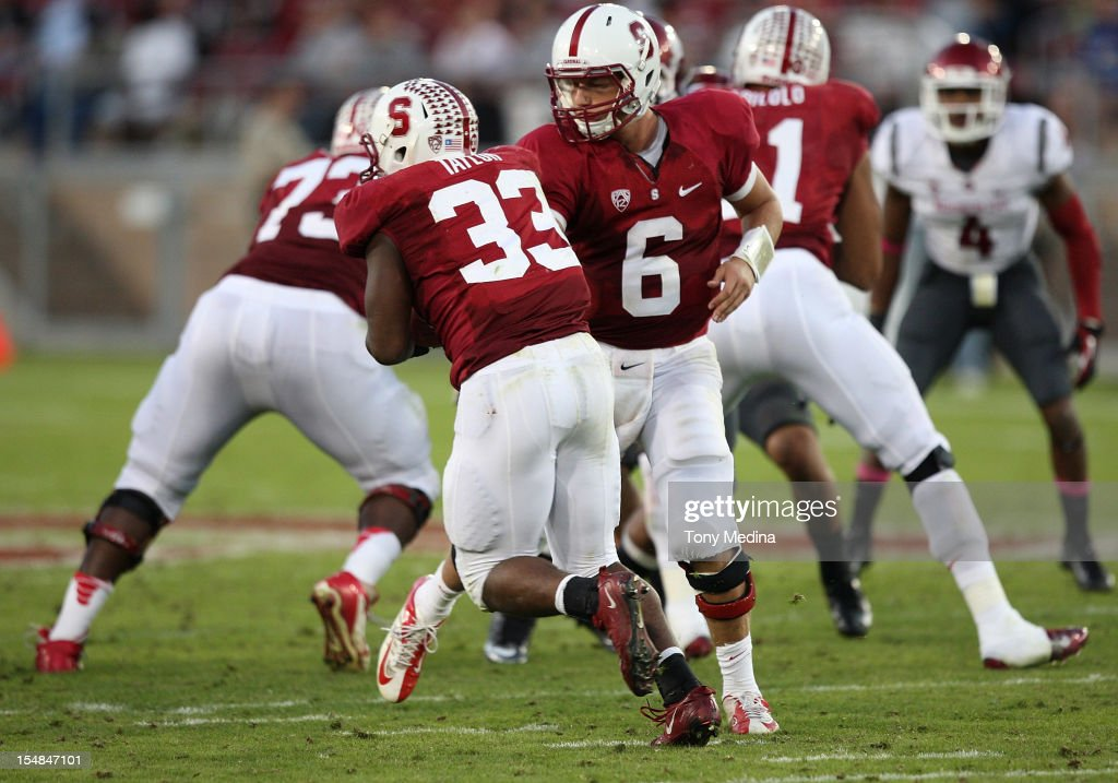 <a gi-track='captionPersonalityLinkClicked' href=/galleries/search?phrase=Josh+Nunes&family=editorial&specificpeople=5652881 ng-click='$event.stopPropagation()'>Josh Nunes</a> #6 of the Stanford Cardinal hands the ball off to <a gi-track='captionPersonalityLinkClicked' href=/galleries/search?phrase=Stepfan+Taylor&family=editorial&specificpeople=6523004 ng-click='$event.stopPropagation()'>Stepfan Taylor</a> #33 of the Stanford Cardinal during the third quarter of play during a game against the Washington State Cougars at Stanford Stadium on October 27, 2012 in Palo Alto, California.