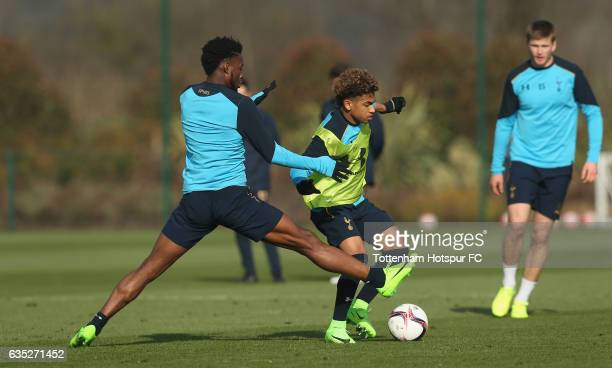 Josh Onomah and Marcus Edwards of Tottenham during the Tottenham Hotspur training session at Tottenham Hotspur Training Centre on February 14 2017 in...