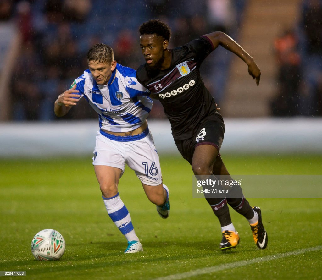 Josh Onomah of Aston Villa during the Carabao Cup First Round match between Colchester United and Aston Villa at the Colchester Community Stadium on August 09, 2017 in Colchester, England.