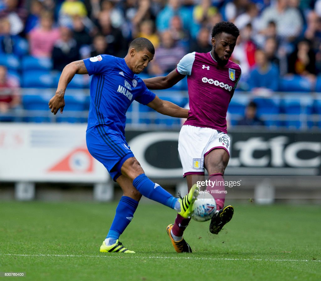 Josh Onomah of Aston Villa during the Sky Bet Championship match between Cardiff City and Aston Villa at the Cardiff City Stadium on August 12, 2017 in Cardiff, Wales.