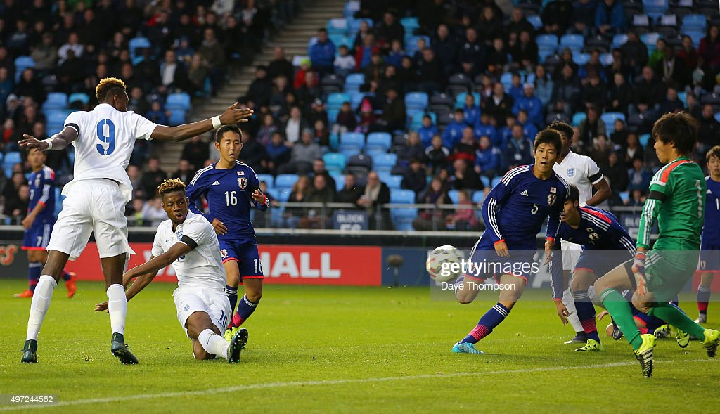 Josh Onomah of England scores his sides first goal during the U19 International friendly match between England and Japan at Manchester City Academy Stadium on November 15, 2015 in Manchester, England.