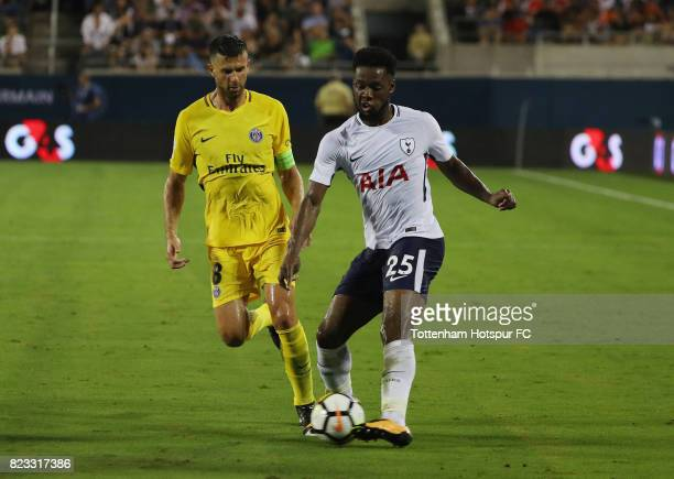 Josh Onomah of Tottenham Hotspurs battles for the ball with Giovani Lo Celso of Paris SaintGermain during a International Champions Cup 2017 game at...