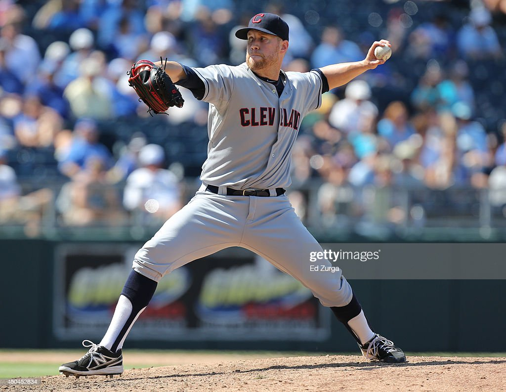 <a gi-track='captionPersonalityLinkClicked' href=/galleries/search?phrase=Josh+Outman&family=editorial&specificpeople=4900182 ng-click='$event.stopPropagation()'>Josh Outman</a> #88 of the Cleveland Indians throws in the eighth inning against the Kansas City Royals at Kauffman Stadium on June 11, 2014 in Kansas City, Missouri.