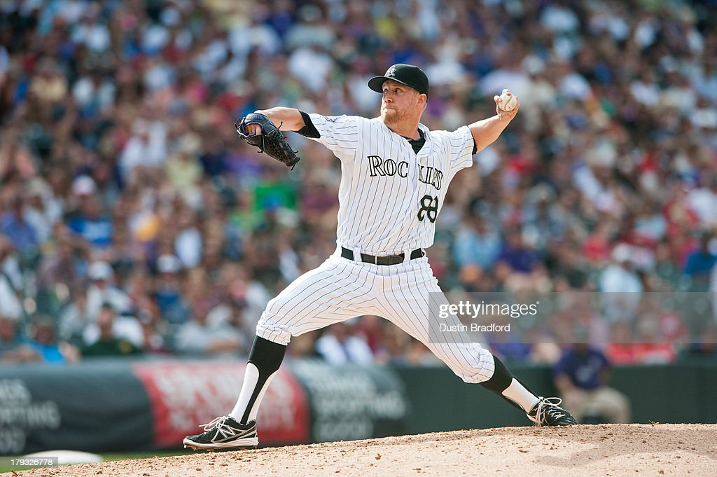 <a gi-track='captionPersonalityLinkClicked' href=/galleries/search?phrase=Josh+Outman&family=editorial&specificpeople=4900182 ng-click='$event.stopPropagation()'>Josh Outman</a> #88 of the Colorado Rockies pitches in the sixth inning of a game against the Cincinnati Reds at Coors Field on September 1, 2013 in Denver, Colorado.