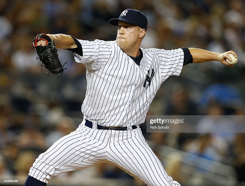 <a gi-track='captionPersonalityLinkClicked' href=/galleries/search?phrase=Josh+Outman&family=editorial&specificpeople=4900182 ng-click='$event.stopPropagation()'>Josh Outman</a> #88 of the New York Yankees in action against the Boston Red Sox during a MLB baseball game at Yankee Stadium on September 4, 2014 in the Bronx borough of New York City.