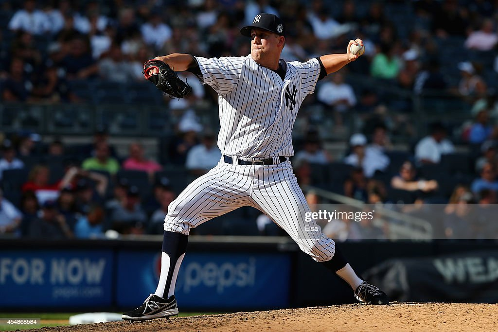 <a gi-track='captionPersonalityLinkClicked' href=/galleries/search?phrase=Josh+Outman&family=editorial&specificpeople=4900182 ng-click='$event.stopPropagation()'>Josh Outman</a> #88 of the New York Yankees pitches against the Kansas City Royals at Yankee Stadium on September 7, 2014 in the Bronx borough of New York City.