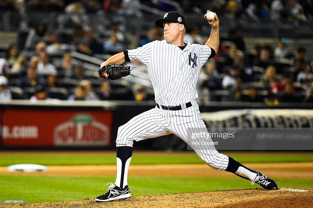 <a gi-track='captionPersonalityLinkClicked' href=/galleries/search?phrase=Josh+Outman&family=editorial&specificpeople=4900182 ng-click='$event.stopPropagation()'>Josh Outman</a> #88 of the New York Yankees throws a pitch in the seventh inning against the Toronto Blue Jays at Yankee Stadium on September 19, 2014 in the Bronx borough of New York City.
