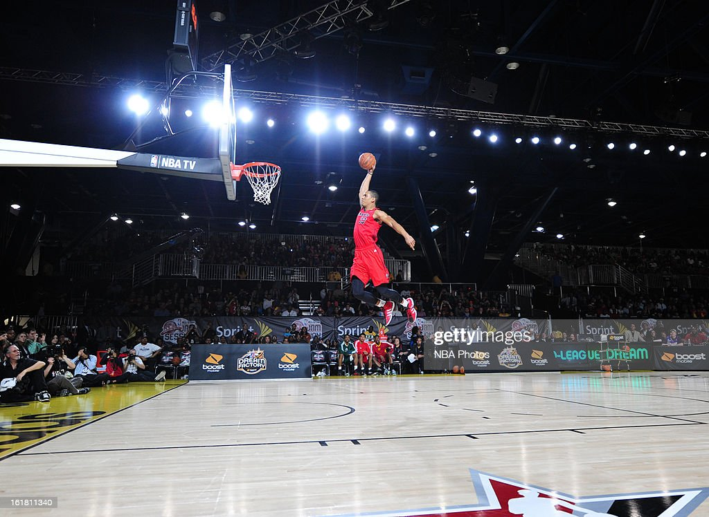 <a gi-track='captionPersonalityLinkClicked' href=/galleries/search?phrase=Josh+Owens&family=editorial&specificpeople=4955635 ng-click='$event.stopPropagation()'>Josh Owens</a> #33 of the Idaho Stampede attempts a dunk during the NBA D-League Dream Factory presented by Boost Mobile in Sprint Arena at Jam Session during NBA All Star Weekend on February 16, 2013 at the George R. Brown in Houston, Texas.