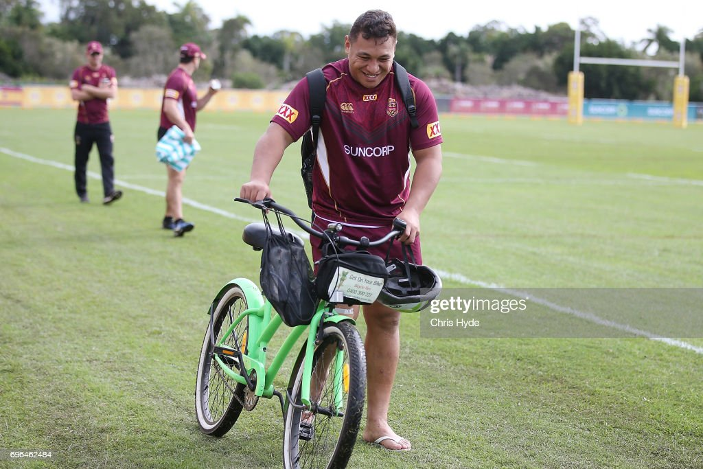 Josh Papalii leaves training early during a Queensland Maroons State of Origin training session at Intercontinental Sanctuary Cove Resort on June 16, 2017 in Brisbane, Australia.