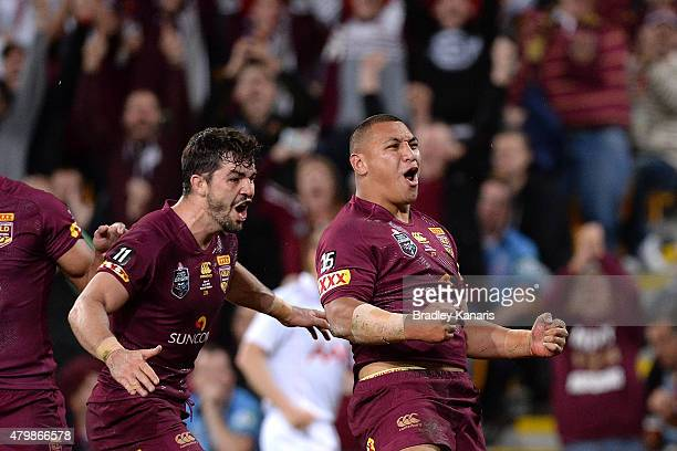 Josh Papalii of the Maroons celebrates scoring a try during game three of the State of Origin series between the Queensland Maroons and the New South...
