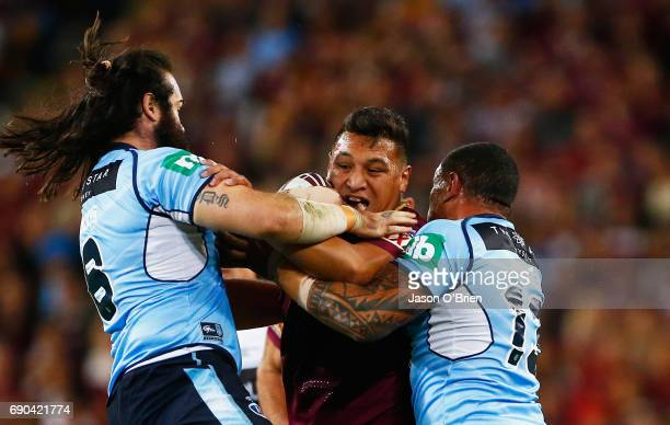 Josh Papalii of the Maroons in action during game one of the State Of Origin series between the Queensland Maroons and the New South Wales Blues at...
