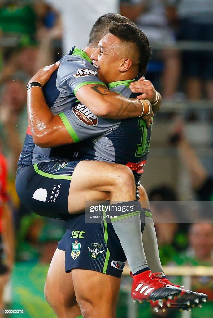 Josh Papalii of the Raiders celebrates a try during the round six NRL match between the Gold Coast Titans and the Canberra Raiders at Cbus Super Stadium on April 8, 2017 in Gold Coast, Australia.