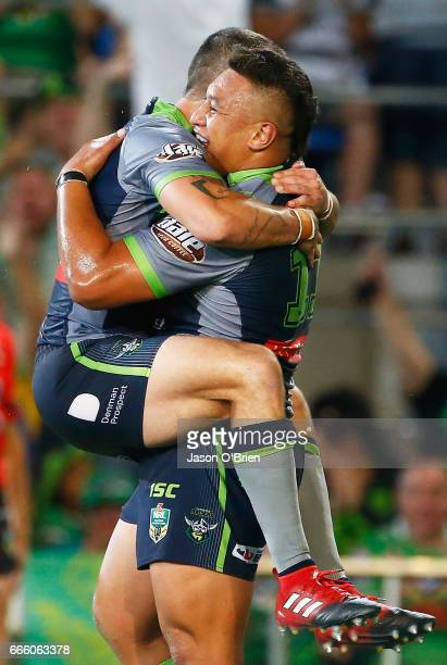 Josh Papalii of the Raiders celebrates a try during the round six NRL match between the Gold Coast Titans and the Canberra Raiders at Cbus Super...