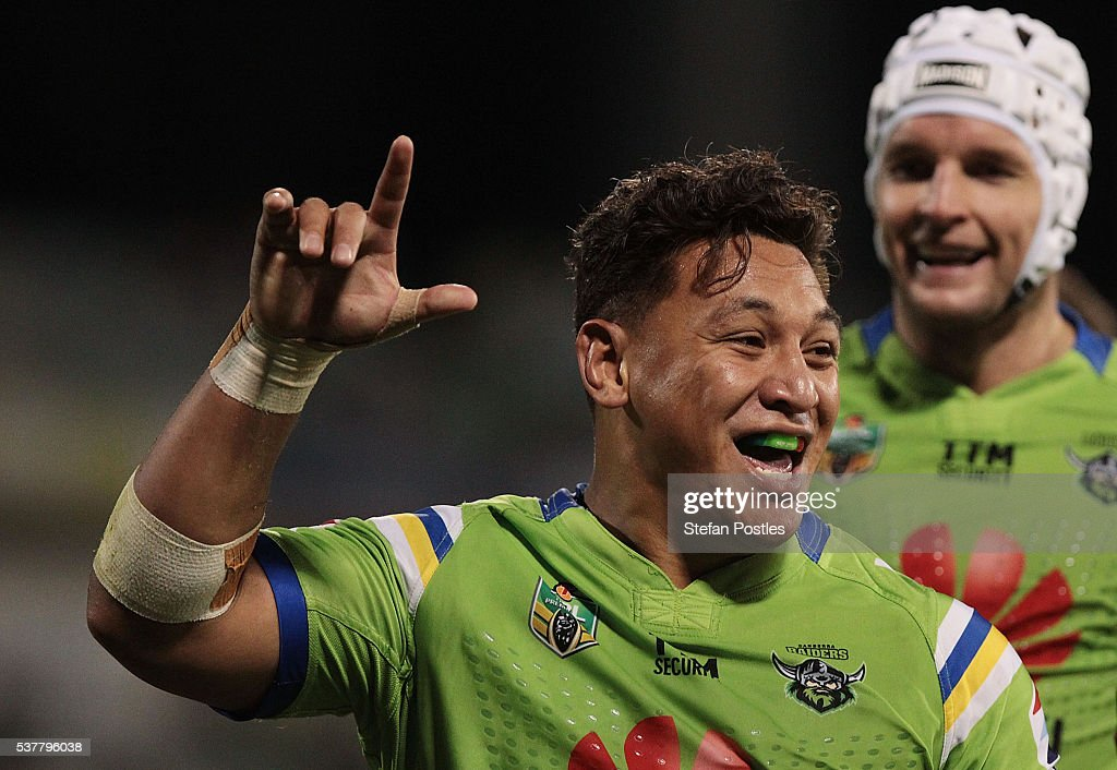 Josh Papalii of the Raiders celebrates after scoring a try during the round 13 NRL match between the Canberra Raiders and the Manly Sea Eagles at GIO Stadium on June 3, 2016 in Canberra, Australia.