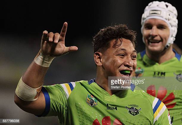 Josh Papalii of the Raiders celebrates after scoring a try during the round 13 NRL match between the Canberra Raiders and the Manly Sea Eagles at GIO...