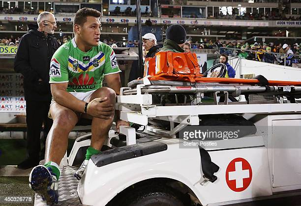 Josh Papalii of the Raiders comes off injured during the round 13 NRL match between the Canberra Raiders and the Brisbane Broncos at GIO Stadium on...