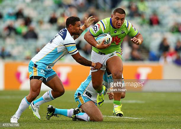 Josh Papalii of the Raiders makes a line break during the round nine NRL match between the Canberra Raiders and the GOld Coast Titans at GIO Stadium...