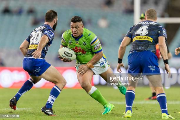 Josh Papalii of the Raiders runs the ball during the round nine NRL match between the Canterbury Bulldogs and the Canberra Raiders at ANZ Stadium on...
