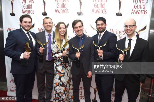 Josh Patten Sarah Schneider Will Stephen Paul Masella and Chris Belair pose backstage with awards during 69th Writers Guild Awards New York Ceremony...