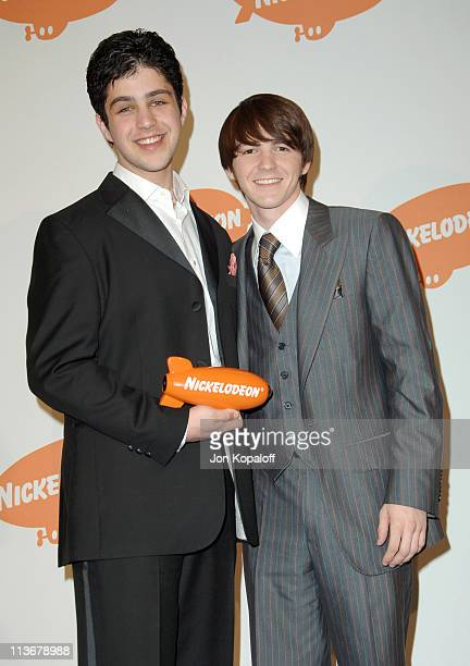 Josh Peck and Drake Bell during Nickelodeon's 19th Annual Kids' Choice Awards Press Room at Pauley Pavilion in Westwood California United States