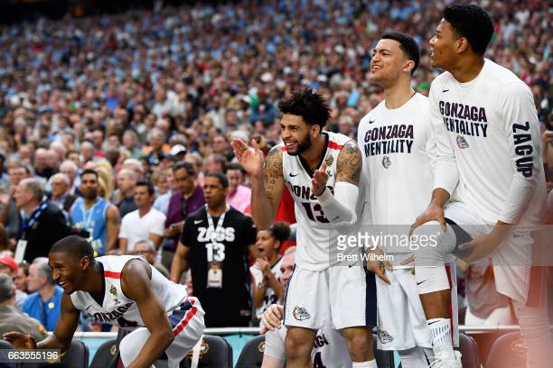 Josh Perkins of the Gonzaga Bulldogs and players react in the final seconds during the 2017 NCAA Men's Final Four Semifinal against the South...