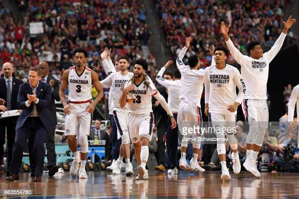 Josh Perkins of the Gonzaga Bulldogs and players reacts after a play during the 2017 NCAA Men's Final Four Semifinal against the South Carolina...