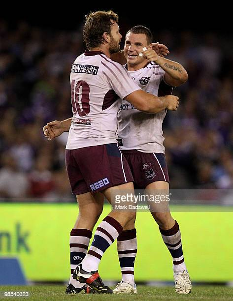 Josh Perry and Anthony Watmough of the Sea Eagles celebrate their win over the Storm during the round six NRL match between the Melbourne Storm and...