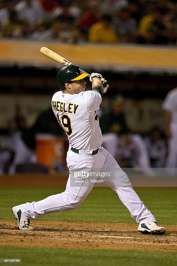 <a gi-track='captionPersonalityLinkClicked' href=/galleries/search?phrase=Josh+Phegley&family=editorial&specificpeople=6796472 ng-click='$event.stopPropagation()'>Josh Phegley</a> #19 of the Oakland Athletics at bat against the Houston Astros during the second inning at O.co Coliseum on September 8, 2015 in Oakland, California. The Oakland Athletics defeated the Houston Astros 4-0.