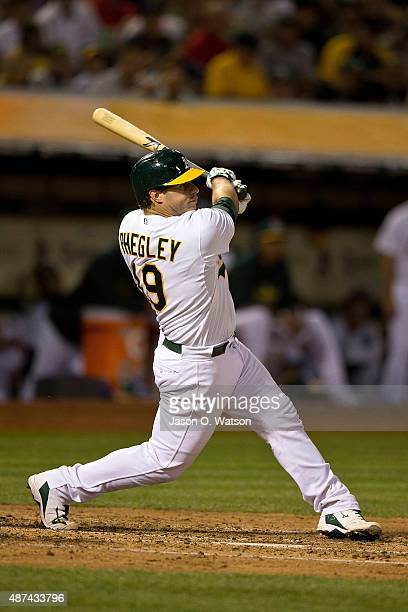 Josh Phegley of the Oakland Athletics at bat against the Houston Astros during the second inning at Oco Coliseum on September 8 2015 in Oakland...