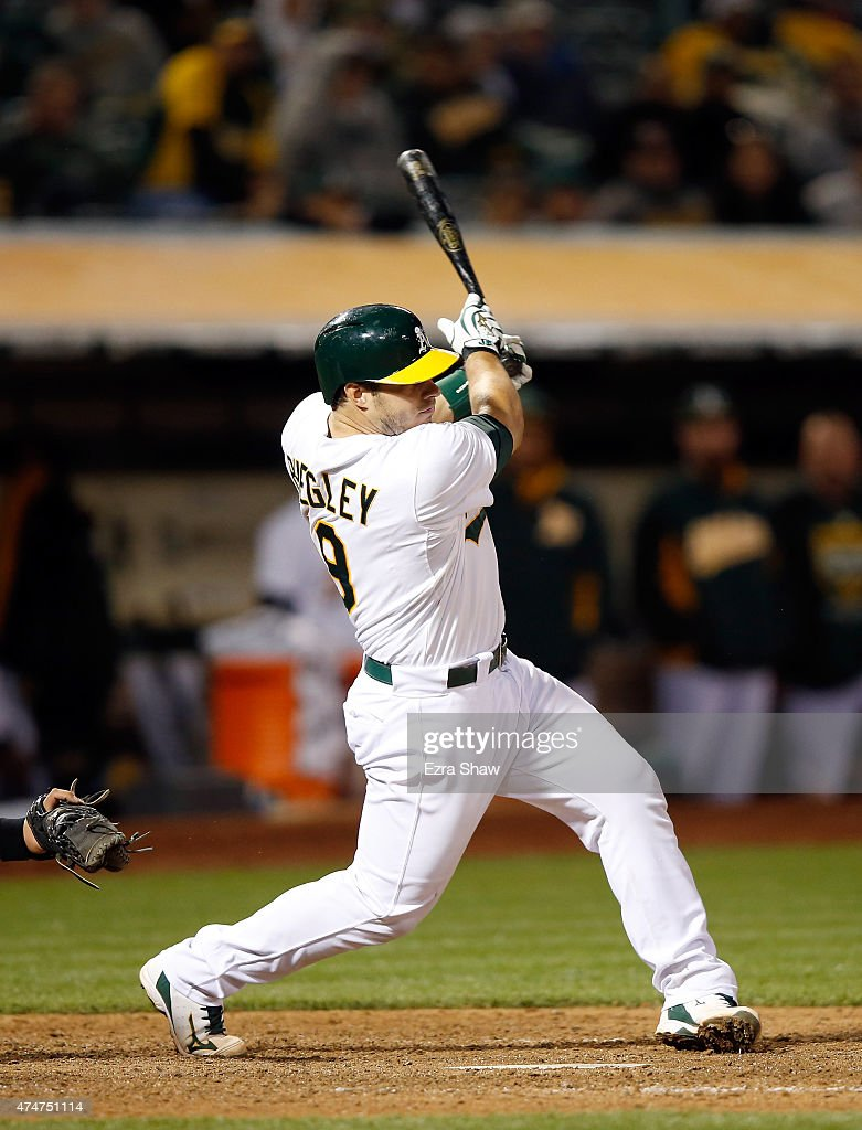 <a gi-track='captionPersonalityLinkClicked' href=/galleries/search?phrase=Josh+Phegley&family=editorial&specificpeople=6796472 ng-click='$event.stopPropagation()'>Josh Phegley</a> #19 of the Oakland Athletics bats against the Chicago White Sox at O.co Coliseum on May 15, 2015 in Oakland, California.