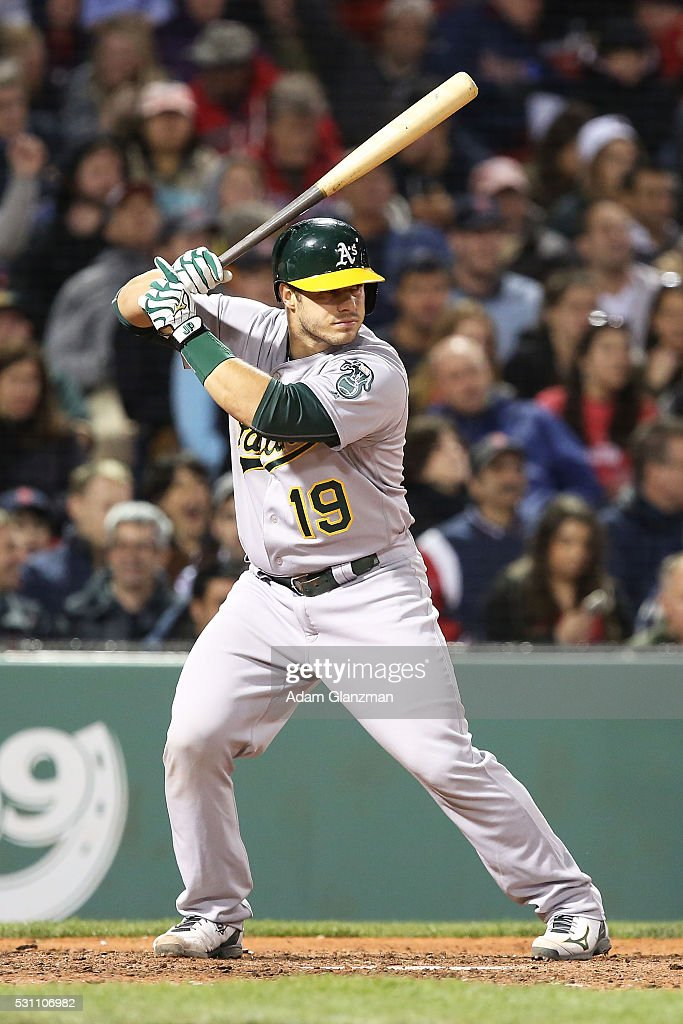 <a gi-track='captionPersonalityLinkClicked' href=/galleries/search?phrase=Josh+Phegley&family=editorial&specificpeople=6796472 ng-click='$event.stopPropagation()'>Josh Phegley</a> #19 of the Oakland Athletics bats in the sixth inning during the game against the Boston Red Sox at Fenway Park on May 9, 2016 in Boston, Massachusetts.