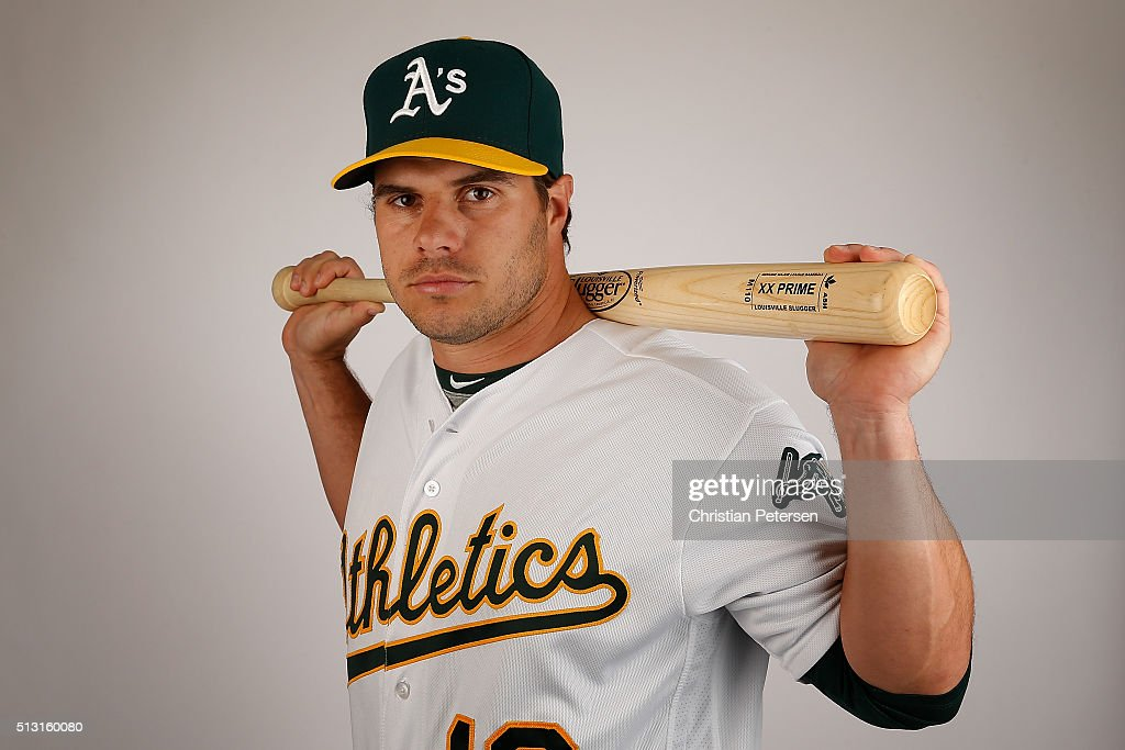 <a gi-track='captionPersonalityLinkClicked' href=/galleries/search?phrase=Josh+Phegley&family=editorial&specificpeople=6796472 ng-click='$event.stopPropagation()'>Josh Phegley</a> #19 of the Oakland Athletics poses for a portrait during the spring training photo day at HoHoKam Stadium on February 29, 2016 in Mesa, Arizona.