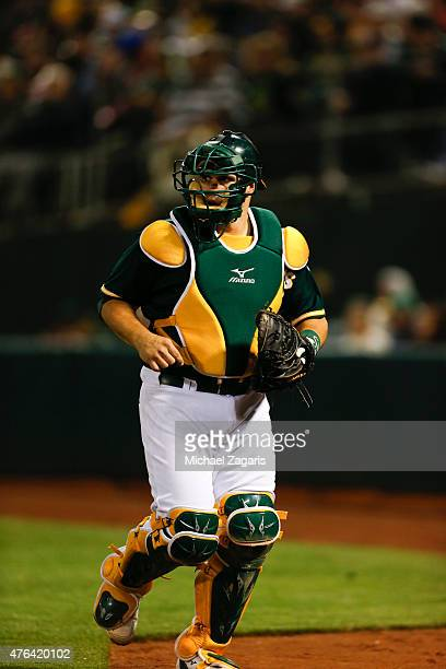 Josh Phegley of the Oakland Athletics stands on the field during the game against the New York Yankees at Oco Coliseum on May 28 2015 in Oakland...