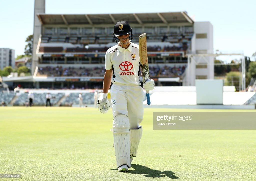 Josh Philippe of Western Australia XI walks from the ground after being dismissed by Mason Crane of England for 88 runs during day two of the Ashes series Tour Match between Western Australia XI and England at WACA on November 5, 2017 in Perth, Australia.