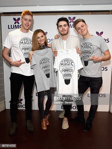 Josh Pieters Niomi Smart Alfie Deyes and Caspar Lee supporting the Lumos launch of its 'Be the Light' Tshirt to raise funds for its work to help end...
